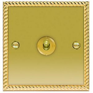 Wickes 10A Toggle Light Switch 1 Gang 2 Way Polished Georgian Brass