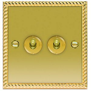 Wickes 10A Toggle Light Switch 2 Gang 2 Way Polished Georgian Brass