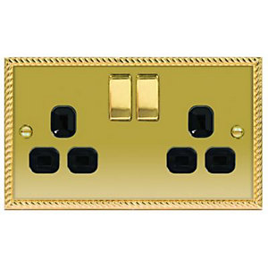 Wickes 13A Switched Socket 2 Gang Georgian Brass Raised Plate