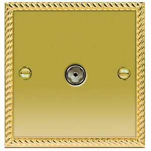 Wickes Coaxial Socket 1 Gang Georgian Brass