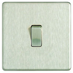 Wickes 10A Light Switch 1 Gang 2 Way Brushed Steel Screwless Flat Plate