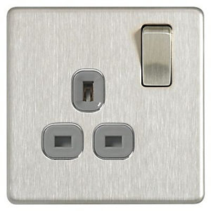 Wickes 13A Switched Socket 1 Gang Brushed Steel Screwless Flat Plate