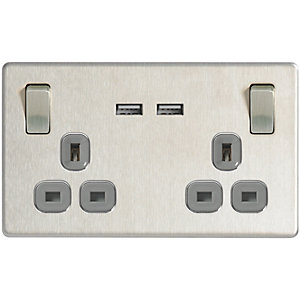 Wickes 13A Switched Socket + USB Charger 2 Gang Brushed Screwless Flat Plate