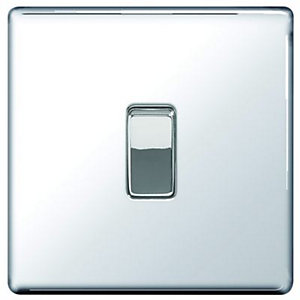 Wickes 10A Light Switch 1 Gang 2 Way Polished Chrome Screwless Flat Plate