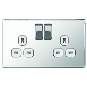 Wickes 13A Switched Socket 2 Gang Polished Chrome Screwless Flat Plate