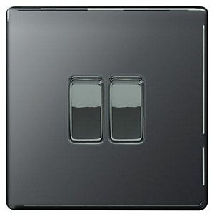 Wickes 10A Light Switch 2 Gang 2 Way Black Nickel Screwless Flat Plate