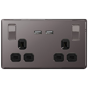 Wickes 13A Switched Socket + USB Charger 2 Gang Black Nickel Screwless Flat Plate