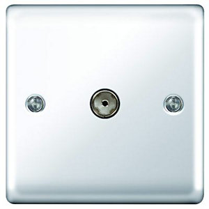 Wickes Coaxial Socket 1 Gang Polished Chrome Raised Plate
