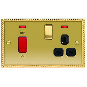 Wickes 45A Cooker Switch & 13A Socket Polished Georgian Brass