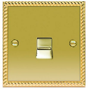 Wickes Telephone Socket Master 1 Gang Georgian Brass Raised Plate