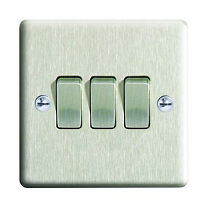 Wickes 10A Light Switch 3 Gang 2 Way Brushed Steel Raised Plate