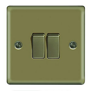 Wickes 10A Light Switch 2 Gang 2 Way Pearl Nickel Raised Plate