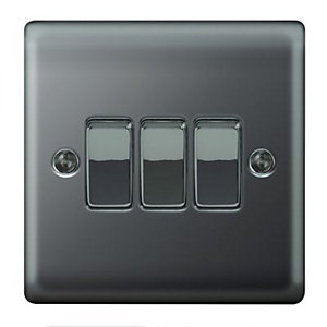 Wickes 10A Light Switch 3 Gang 2 Way Black Nickel Raised Plate