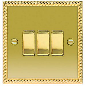 Wickes 10A Light Switch 3 Gang 2 Way Polished Georgian Brass