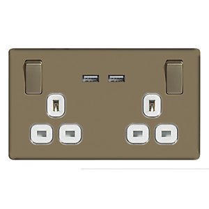 Wickes 13A Switched Socket + USB Charger 2 Gang Pearl Nickel Screwless Flat Plate