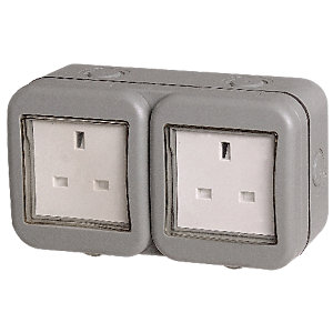 Masterplug IP55 13A Unswitched Socket 2 Gang WPB24