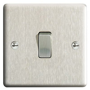 Wickes Brushed Steel 10A Single Switch - Brushed Steel 2 pack