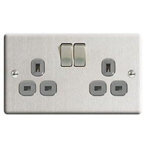 Wickes Brushed Steel 13A Twin Socket - Brushed Steel 3 pack