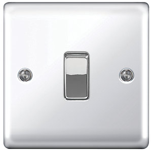 Wickes 10AX Light Switch 1 Gang 2 Way Polished Chrome Raised Plate - 2 Pack