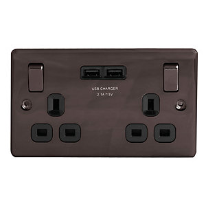 Wickes Black Nickel 13 Amp 2 Gang Switched Socket with 2 x USB Ports