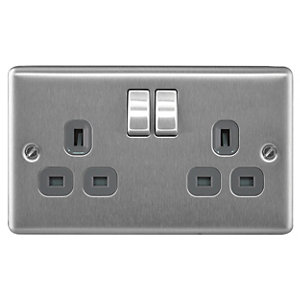 Masterplug 13A Double Pole 2 Gang Switched Socket Brushed Stainless Steel