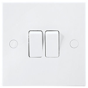 British General Double Switch 2 Gang 2 Way 10A White
