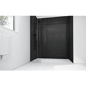 Wickes Black Acrylic 900 x 900mm 2 Sided Shower Panel Kit