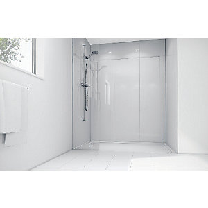 Wickes White Acrylic 900 x 900mm 2 Sided Shower Panel Kit