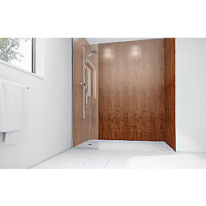 Wickes Brass Laminate 900 x 900mm 2 Sided Shower Panel Kit