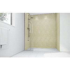 Wickes Chalk Laminate 900 x 900mm 2 Sided Shower Panel Kit