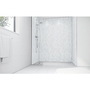 Wickes Feather Marble Gloss Laminate 900x900mm 2 sided Shower Panel Kit