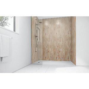 Wickes Brushed Nickel Laminate 900 x 900mm 2 Sided Shower Panel Kit