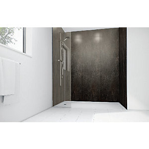 Wickes Ash Gloss Laminate 900 x 900mm 2 Sided Shower Panel Kit