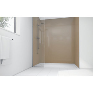 Wickes High Gloss Beige Laminate 900x900mm 2 sided Shower Panel Kit