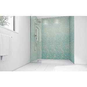 Wickes Blue Reef Gloss Laminate 900 x 900mm 2 Sided Shower Panel Kit