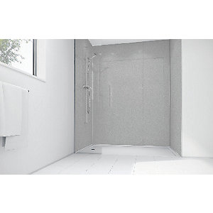 Wickes White Diamond Acrylic 900 x 900mm 3 Sided Shower Panel Kit