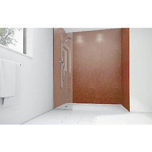 Wickes Red Pearl Gloss Laminate 900 x 900mm 3 Sided Shower Panel Kit