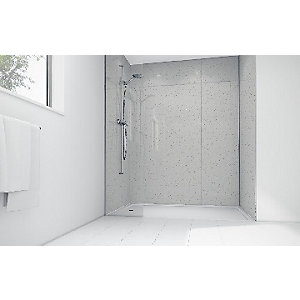 Wickes White Sparkle Gloss Laminate 900 x 900mm 3 Sided Shower Panel Kit