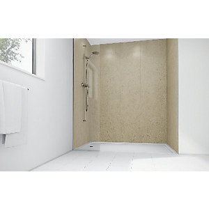 Wickes Lava Stone Laminate 900x900mm 3 sided Shower Panel Kit