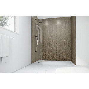 Wickes Roman Stone Laminate 900 x 900mm 3 Sided Shower Panel Kit