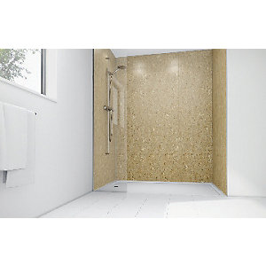 Wickes Sandstone Laminate 900 x 900mm 3 Sided Shower Panel Kit