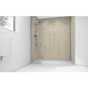 Wickes Travertine Matt Laminate 900 x 900mm 3 Sided Shower Panel Kit