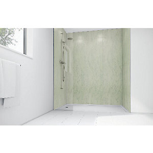 Wickes Mint Marble Laminate 900x900mm 3 sided Shower Panel Kit