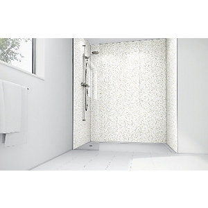 Wickes White Lilly Laminate 900 x 900mm 3 Sided Shower Panel Kit