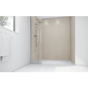 Wickes Cream Cotton Gloss Laminate 1200x900mm 2 sided Shower Panel Kit
