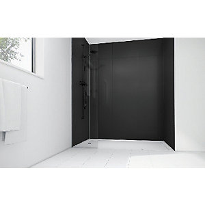 Wickes High Gloss Black Laminate 1200x900mm 2 sided Shower Panel Kit