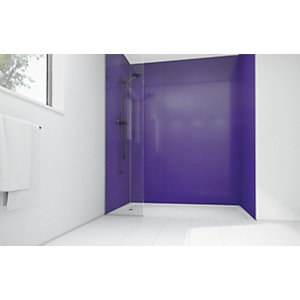 Wickes High Gloss Purple Laminate 1200x900mm 2 sided Shower Panel Kit