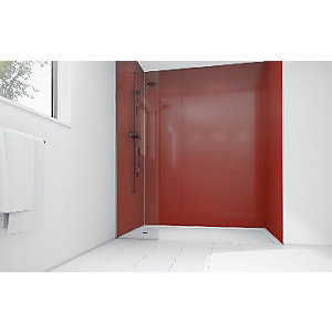 Wickes High Gloss Rouge Laminate 1200x900mm 2 sided Shower Panel Kit