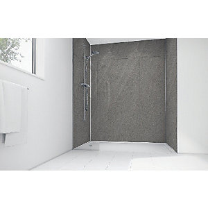 Wickes Lunar Grey Laminate 1200x900mm 2 sided Shower Panel Kit