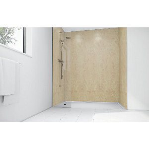 Wickes Champagne Gloss Laminate 1200x900mm 3 sided Shower Panel Kit